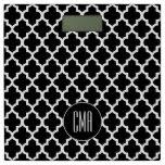Monogram Black & White Quatrefoil Pattern Bathroom Scale