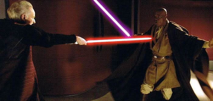 Palpatine takes on Mace Windu.