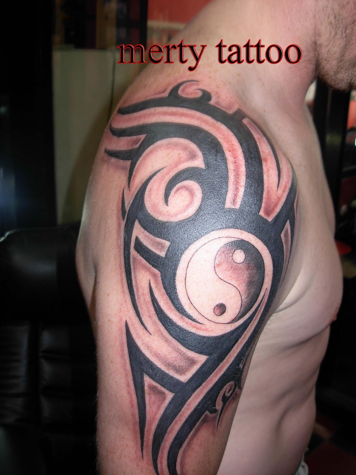 Yin Yang And Half Sleeve Tattoo For Men