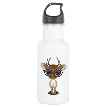 Nerdy Baby Deer Wearing Glasses Stainless Steel Water Bottle