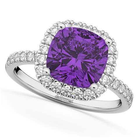 Cushion Cut Halo Amethyst & Diamond Engagement Ring 14k