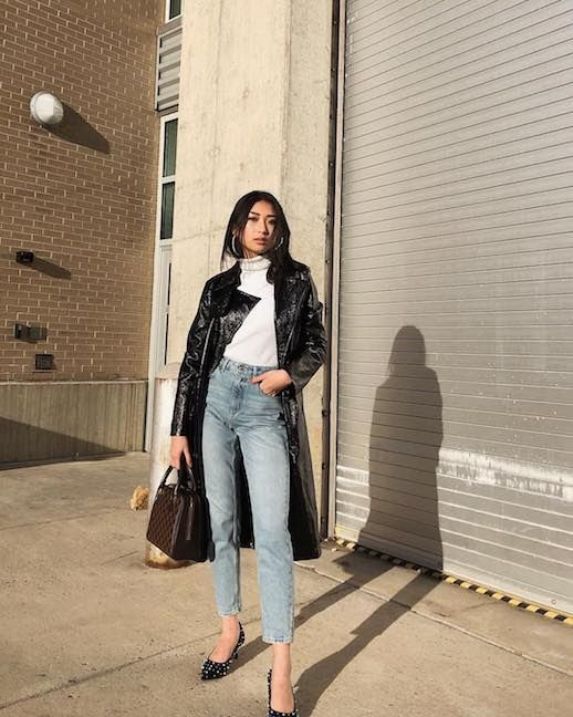 Le Fashion Blog Casual Chic Faux Leather Trench Coat White Turtleneck Cropped Light Wash Jeans Studded Black Pumps Via @_jiezheng