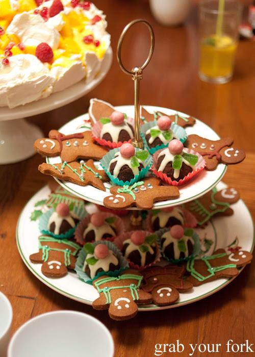 Homemade mini Baileys Christmas puddings and ice gingerbread men