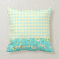 Spring Yellow and Blue Flowers and Gingham Throw Pillows