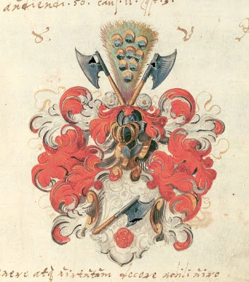 red painted coat of arms