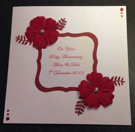 Handmade Ruby Wedding Anniversary Card   craft   Wedding