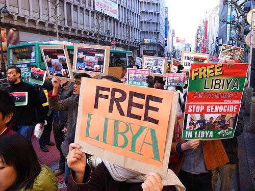 Libya March in Tokyo, Japan #libjp #libya 2011.02.26 リビアのためのデモ行進(渋谷, 東京)