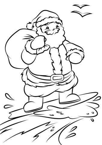 santa surfing coloring page  free printable coloring pages
