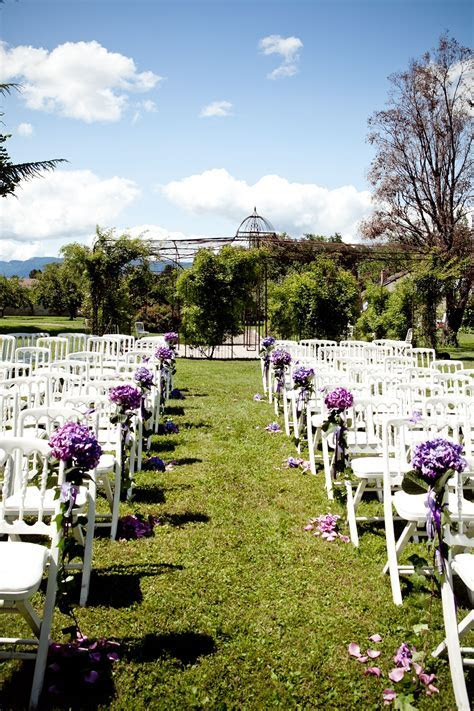 Outdoor wedding ceremony decoration   hydrangea bouquets