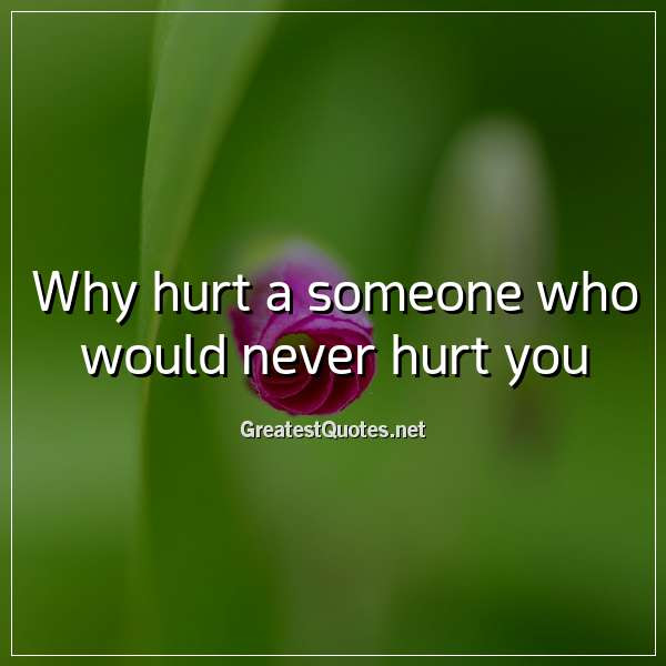 Why Hurt A Someone Who Would Never Hurt You Free Life Quotes