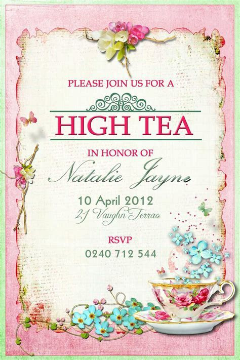 High Tea Invitation Idea   Vegan Tea Time ? in 2019   High