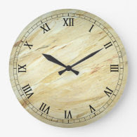 White Marble Faux Finish Wallclock Roman Numeral