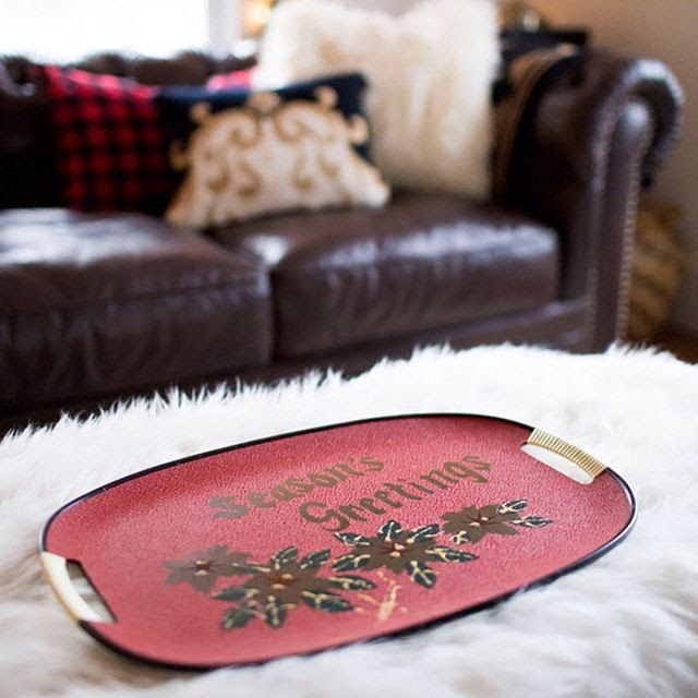 @thoughtsfromalice Sweet, vintage tray from my mom. (More from my living room on the blog and a $500 gift card giveaway! Link in profile.) here's the link to her blog