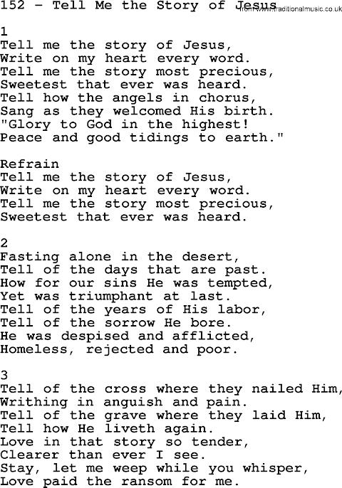 Tell Me The Story Of Jesus Lyrics Sda Hymnal