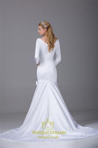 Satin Wedding Dresses With Long Sleeves, Satin Mermaid