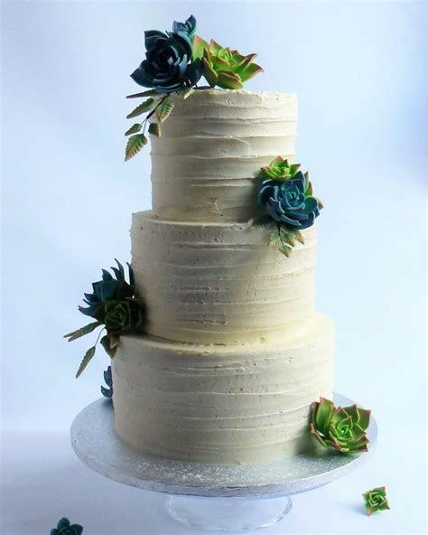 Buttercreamed Wedding Cake with sugar succulants   Karen's