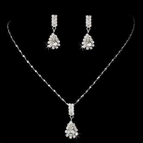AFFORDABLE Rhinestone Teardrop BRIDESMAID JEWELRY SET