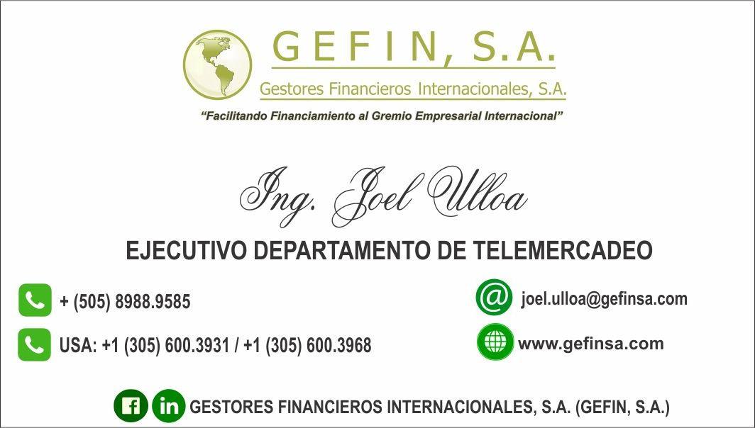 EJECUTIVO DEPARTAMENTO DE TELEMERCADEO: (JOEL ULLOA)