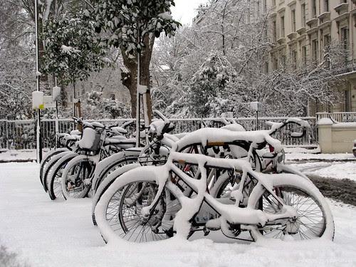 Snowed bicycles