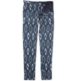 Burberry Prorsum Ikat-print Cotton And Linen-blend Trousers