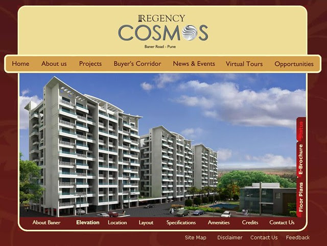 Website of Regency Cosmos, Almost Ready Possession 3 BHK Flats at Baner Pune
