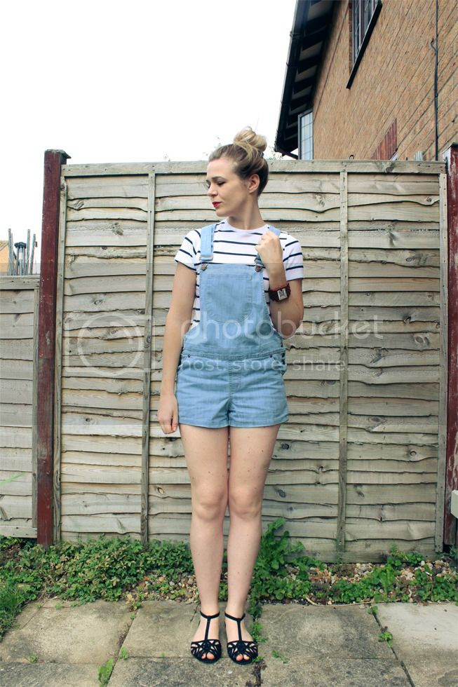 striped top with denim dungarees