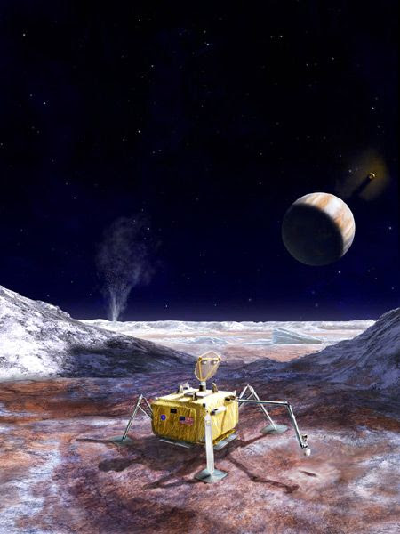 An artist's concept of a lander on the surface of Jupiter's icy moon Europa.