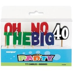 40th Birthday Candles - PartyCheap