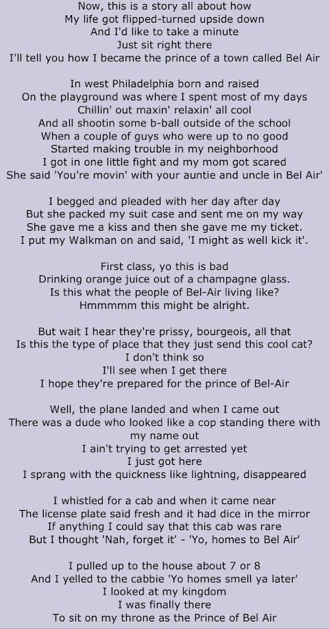 Fresh Prince Of Bel Air Theme Tune Lyrics