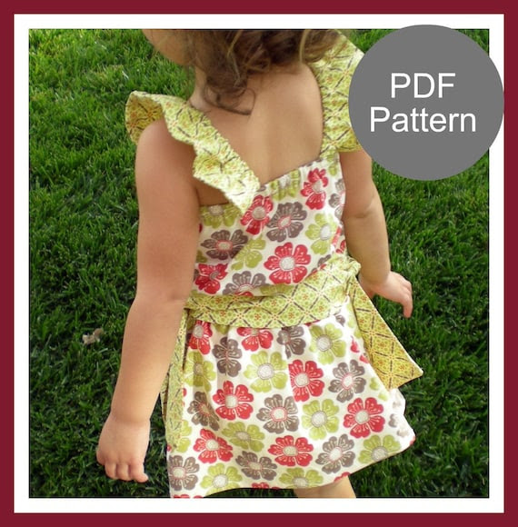 PDF sewing pattern...The Ruffle Sleeve Top and Skirt  12m-5T, baby girls easy sew