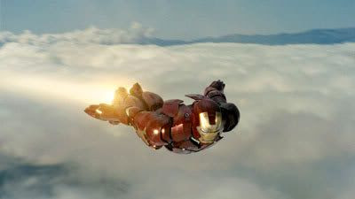 Iron Man soars through the wild blue yonder.