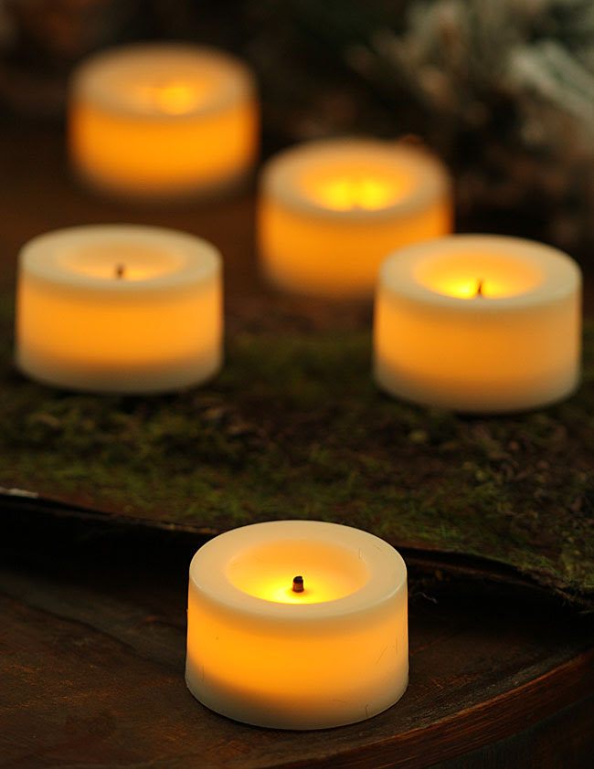 9 Pack .75 Inch Round Cream Candle Impressions Flameless ...