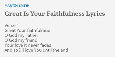 Great Is Your Faithfulness Lyrics Bethel