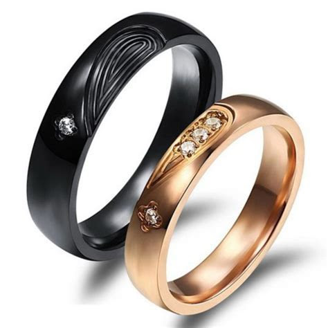 jewels, heart jewelry, titanium rings set, his and hers