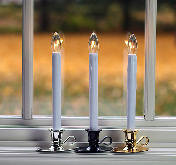 Colonial Flameless Window Candle Bright Dual Sided Bulb ...