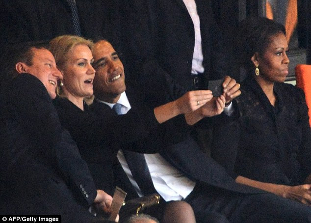 For our eyes only: The controversial selfie,  pictured, will not be shared with the public, the Danish Prime Minister Helle Thorning-Schmidt said today