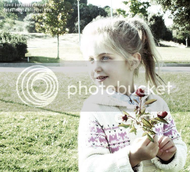 Niña en exterior con rosas en las manos