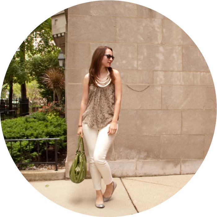 dash dot dotty, july, white jeans, ootd, silk tank, bird print, green purse, bdg jeans