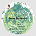 Snowflake Design New Address Round Stickers