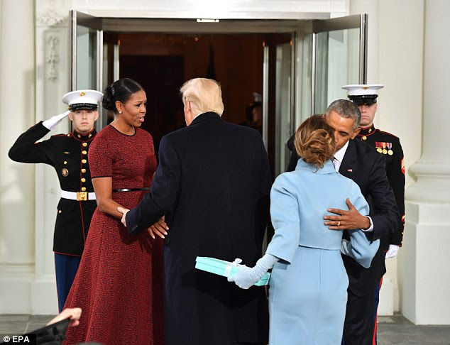 "'Notice how Obama went out of his way to greet Melania and bring her up and into the ""picture,"" said Wood"