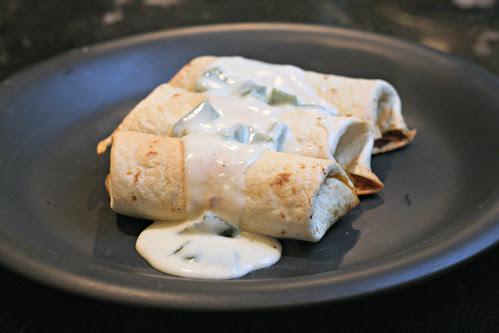 Baked Chicken Burritos with Sour Cream Poblano Sauce
