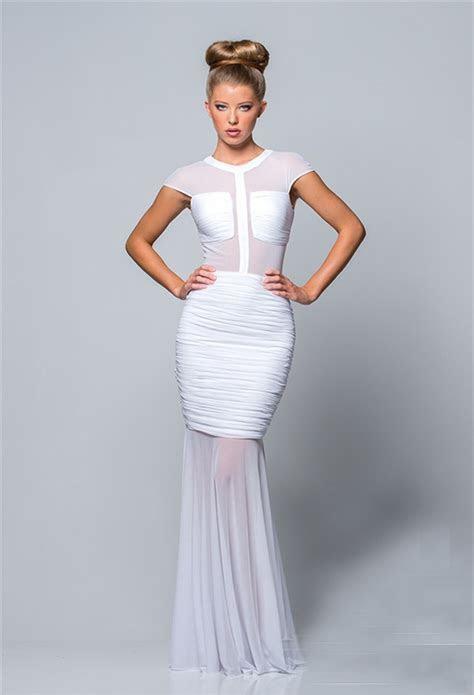 Elegant Mermaid Cap Sleeve Long White Chiffon Ruched