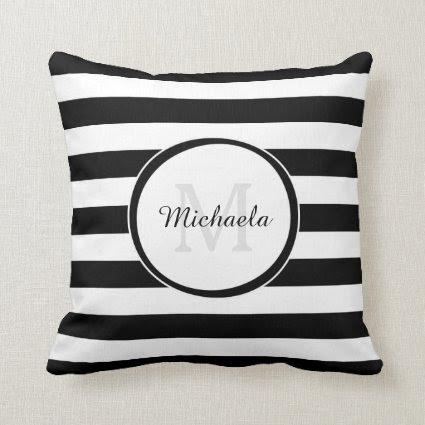 Trendy Black White Stripes With Monogram and Name Throw Pillow