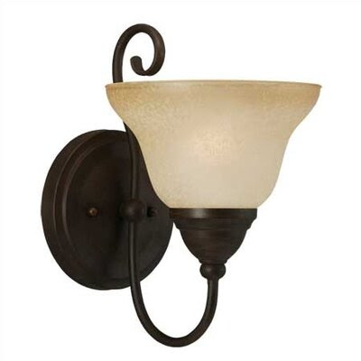 Toltec Lighting Olde Iron Wall Sconce with Amber Marble Glass ...