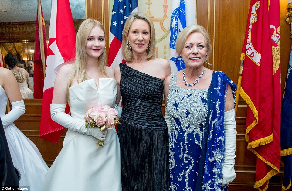 Grand family connections: Debutante Camila Mendoza Echavarria - the great-great-granddaughter of President Dwight D. Eisenhower - with grandmother Anne Eisenhower and Irene Kauffman pose at the prestigious society event
