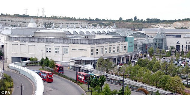 Offenders drove a Ford Mondeo into the Bluewater shopping centre (pictured), parked up and set the car alight during one raid