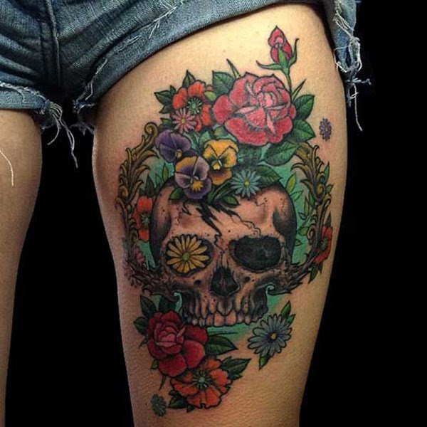 Amazing Skull And Flowers Leg Tattoo Tattoomagz