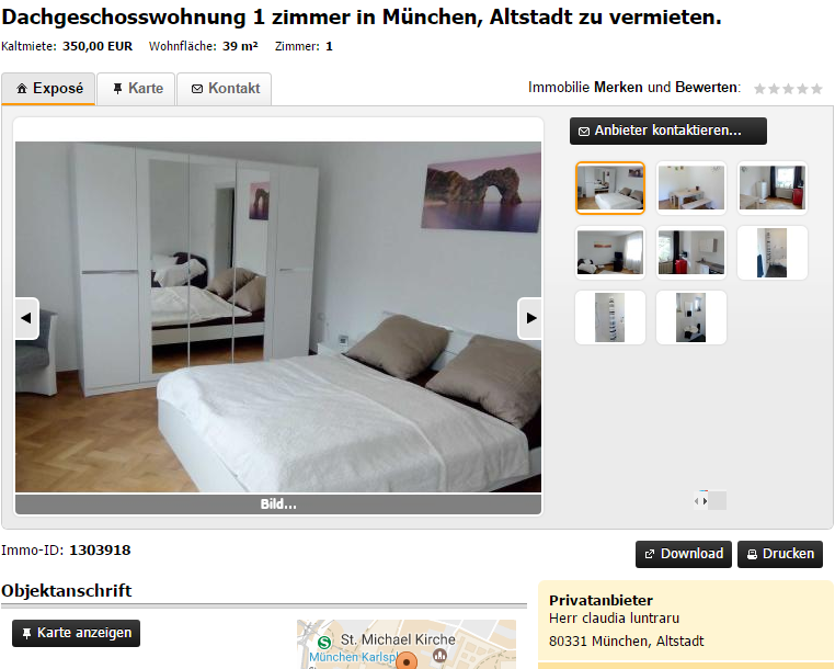 rental scammer with claudia luntraru dachgeschosswohnung 1 zimmer. Black Bedroom Furniture Sets. Home Design Ideas
