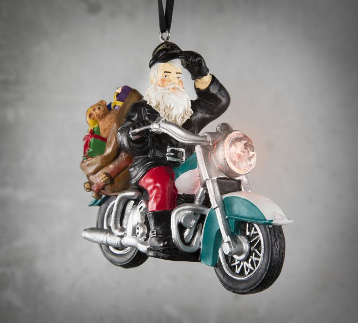 Now we know what Santa rides after he gets off his sleigh. | Harley-Davidson LED Resin Biker Santa Ornament