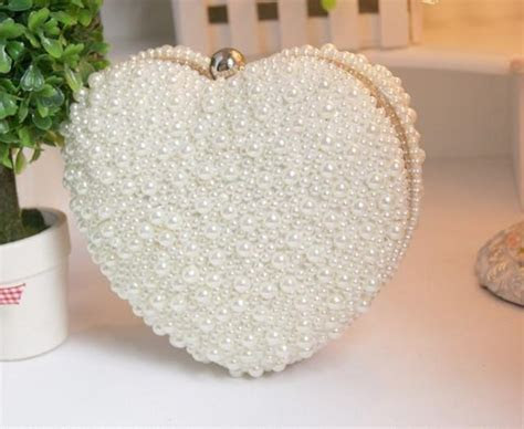 women handmade heart pearl wedding handbag evening clutch